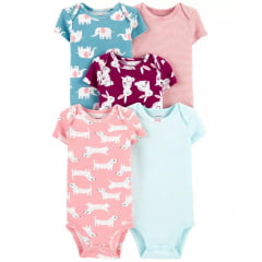 Bodys de Bebê Carters Kit c/ 5 - Animal Print 24M - Original